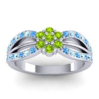 Simple Floral Pave Kalikda Peridot Ring with Aquamarine and Swiss Blue Topaz in Platinum