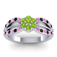 Simple Floral Pave Kalikda Peridot Ring with Black Onyx and Pink Tourmaline in Platinum