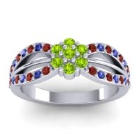 Simple Floral Pave Kalikda Peridot Ring with Blue Sapphire and Garnet in 14k White Gold