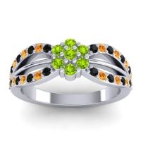 Simple Floral Pave Kalikda Peridot Ring with Citrine and Black Onyx in Platinum