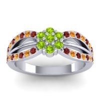 Simple Floral Pave Kalikda Peridot Ring with Citrine and Garnet in 18k White Gold