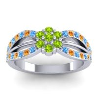 Simple Floral Pave Kalikda Peridot Ring with Citrine and Swiss Blue Topaz in Palladium