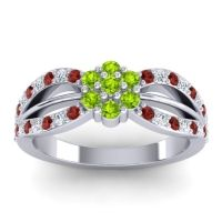 Simple Floral Pave Kalikda Peridot Ring with Diamond and Garnet in 18k White Gold