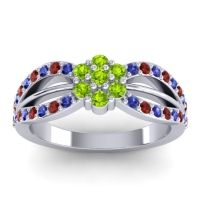 Simple Floral Pave Kalikda Peridot Ring with Garnet and Blue Sapphire in 18k White Gold