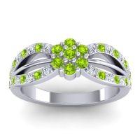 Simple Floral Pave Kalikda Peridot Ring with Diamond in Platinum