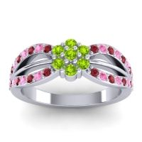 Simple Floral Pave Kalikda Peridot Ring with Pink Tourmaline and Ruby in Platinum