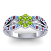Simple Floral Pave Kalikda Peridot Ring with Ruby and Swiss Blue Topaz in Platinum