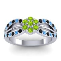 Simple Floral Pave Kalikda Peridot Ring with Swiss Blue Topaz and Black Onyx in 14k White Gold