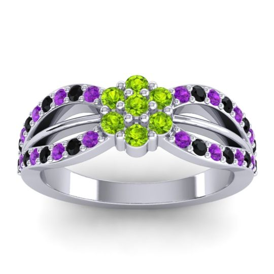 Simple Floral Pave Kalikda Peridot Ring with Black Onyx and Amethyst in 18k White Gold