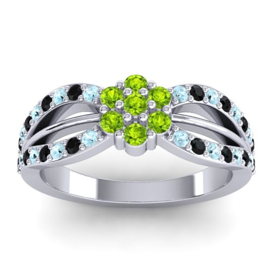 Simple Floral Pave Kalikda Peridot Ring with Black Onyx and Aquamarine in 14k White Gold