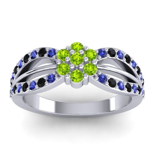 Simple Floral Pave Kalikda Peridot Ring with Black Onyx and Blue Sapphire in 14k White Gold