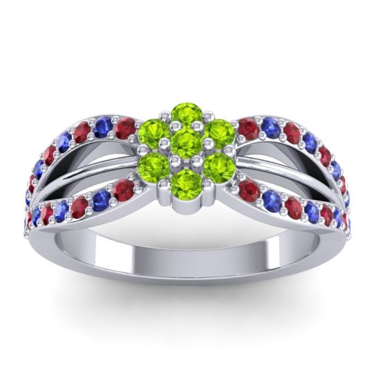 Simple Floral Pave Kalikda Peridot Ring with Blue Sapphire and Ruby in 18k White Gold