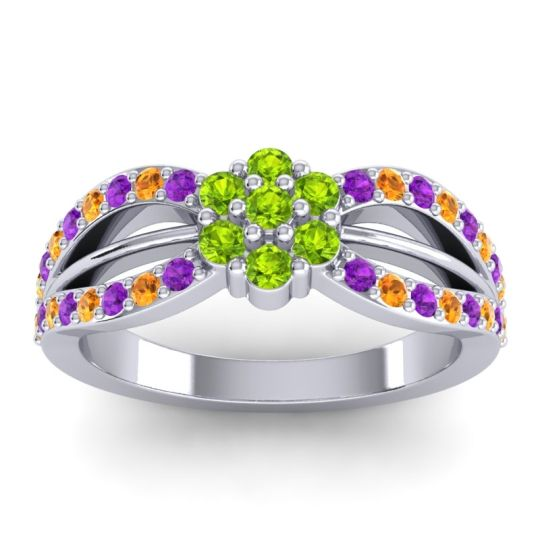 Simple Floral Pave Kalikda Peridot Ring with Citrine and Amethyst in Platinum