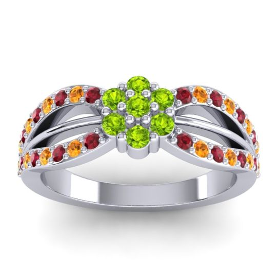 Simple Floral Pave Kalikda Peridot Ring with Citrine and Ruby in 14k White Gold