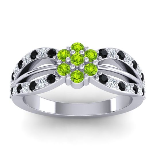 Simple Floral Pave Kalikda Peridot Ring with Diamond and Black Onyx in 14k White Gold