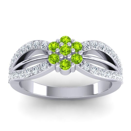 Simple Floral Pave Kalikda Peridot Ring with Diamond in 18k White Gold