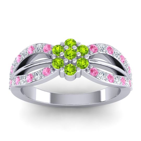 Simple Floral Pave Kalikda Peridot Ring with Diamond and Pink Tourmaline in 18k White Gold