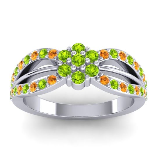 Simple Floral Pave Kalikda Peridot Ring with Citrine in 18k White Gold