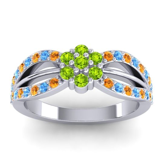 Simple Floral Pave Kalikda Peridot Ring with Swiss Blue Topaz and Citrine in 14k White Gold