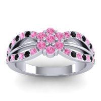 Simple Floral Pave Kalikda Pink Tourmaline Ring with Black Onyx in Palladium