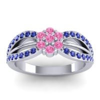 Simple Floral Pave Kalikda Pink Tourmaline Ring with Blue Sapphire in Platinum