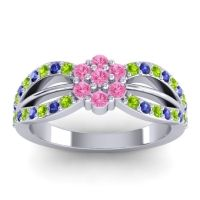 Simple Floral Pave Kalikda Pink Tourmaline Ring with Blue Sapphire and Peridot in Palladium