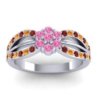 Simple Floral Pave Kalikda Pink Tourmaline Ring with Citrine and Garnet in Platinum