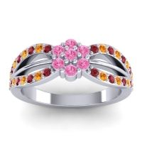 Simple Floral Pave Kalikda Pink Tourmaline Ring with Citrine and Ruby in 18k White Gold