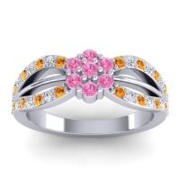 Simple Floral Pave Kalikda Pink Tourmaline Ring with Diamond and Citrine in 14k White Gold