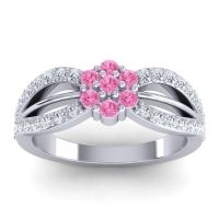 Simple Floral Pave Kalikda Pink Tourmaline Ring with Diamond in 18k White Gold