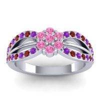 Simple Floral Pave Kalikda Pink Tourmaline Ring with Garnet and Amethyst in 14k White Gold