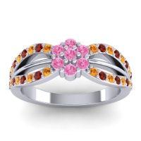 Simple Floral Pave Kalikda Pink Tourmaline Ring with Garnet and Citrine in Platinum