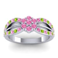 Simple Floral Pave Kalikda Pink Tourmaline Ring with Peridot in 14k White Gold