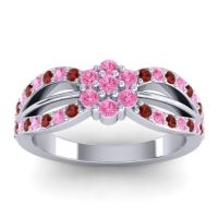 Simple Floral Pave Kalikda Pink Tourmaline Ring with Garnet in 14k White Gold