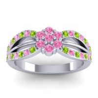 Simple Floral Pave Kalikda Pink Tourmaline Ring with Peridot in 18k White Gold