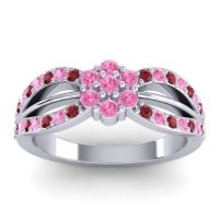 Simple Floral Pave Kalikda Pink Tourmaline Ring with Ruby in Platinum
