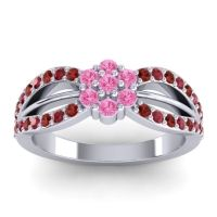 Simple Floral Pave Kalikda Pink Tourmaline Ring with Ruby and Garnet in 18k White Gold