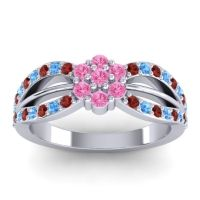 Simple Floral Pave Kalikda Pink Tourmaline Ring with Swiss Blue Topaz and Garnet in Palladium