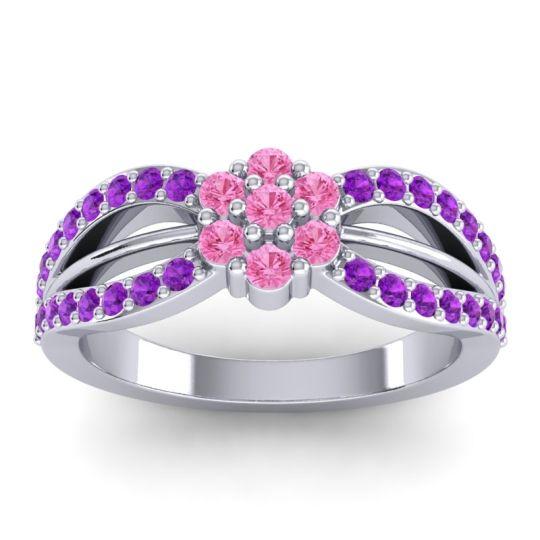Simple Floral Pave Kalikda Pink Tourmaline Ring with Amethyst in 18k White Gold