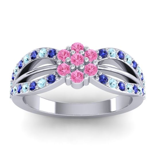 Simple Floral Pave Kalikda Pink Tourmaline Ring with Aquamarine and Blue Sapphire in Platinum
