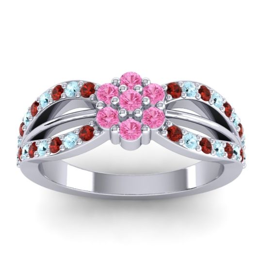 Simple Floral Pave Kalikda Pink Tourmaline Ring with Aquamarine and Garnet in 18k White Gold