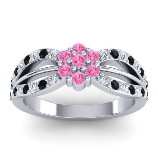 Simple Floral Pave Kalikda Pink Tourmaline Ring with Black Onyx and Diamond in Palladium