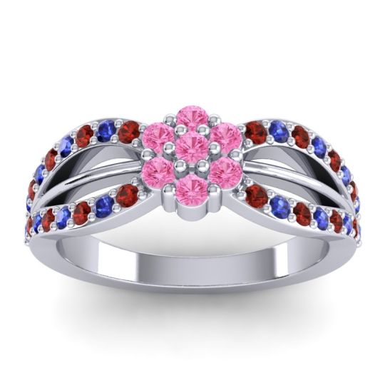 Simple Floral Pave Kalikda Pink Tourmaline Ring with Blue Sapphire and Garnet in 14k White Gold
