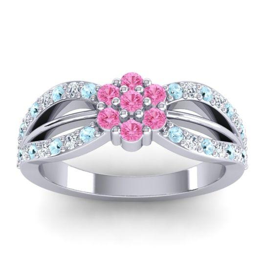 Simple Floral Pave Kalikda Pink Tourmaline Ring with Diamond and Aquamarine in 18k White Gold