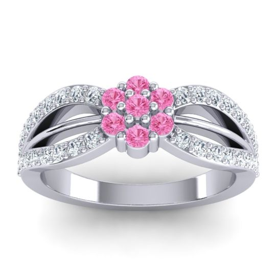 Pink Tourmaline Simple Floral Pave Kalikda Ring with Diamond in 14k White Gold