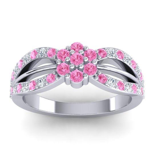 Simple Floral Pave Kalikda Pink Tourmaline Ring with Diamond in Palladium