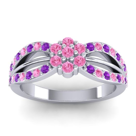 Simple Floral Pave Kalikda Pink Tourmaline Ring with Amethyst in Platinum