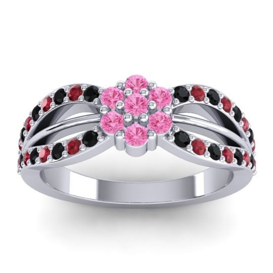Simple Floral Pave Kalikda Pink Tourmaline Ring with Ruby and Black Onyx in Palladium