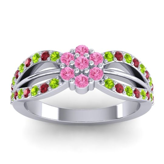 Simple Floral Pave Kalikda Pink Tourmaline Ring with Ruby and Peridot in 14k White Gold