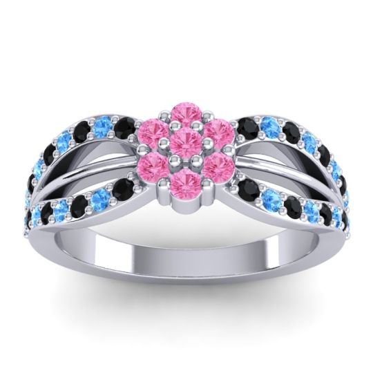 Simple Floral Pave Kalikda Pink Tourmaline Ring with Swiss Blue Topaz and Black Onyx in Platinum